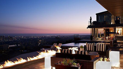 backyard of expensive home overlooking city